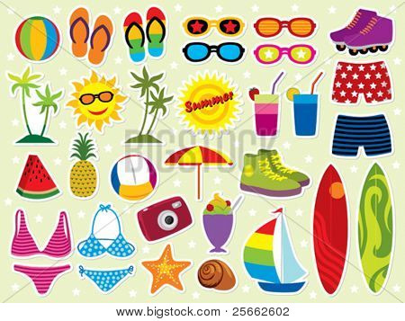 Summer holidays icon set. Please visit my portfolio for similar images.