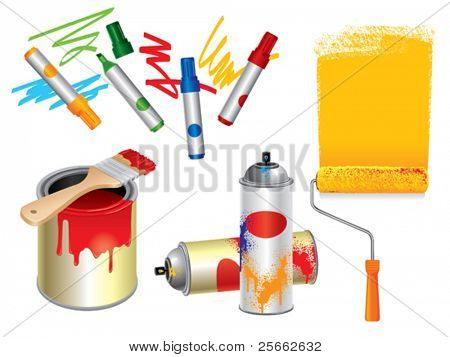 Set of 3d paint, draw and spray tools.