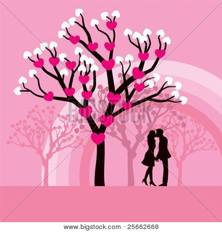 Lovers kissing under a love tree.