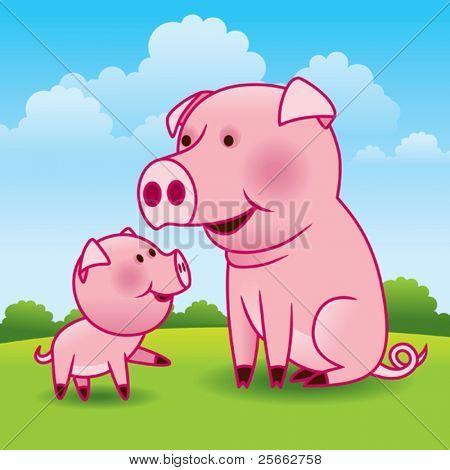 Mutter Schweine und Ferkel