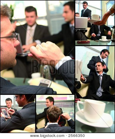 Business Gruppe networking collage