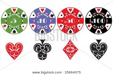 gambling chips and card symbols on white background