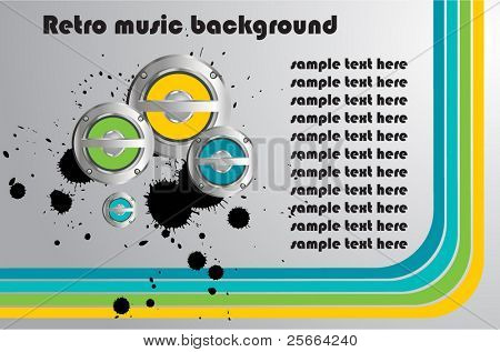 retro background with music speakers
