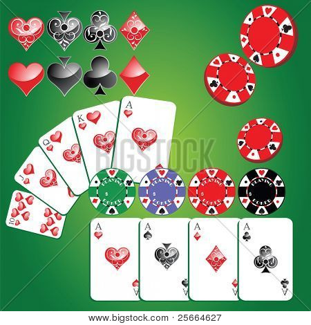 set of gambling chips, cards and card symbols (look for vector version in my portfolio)