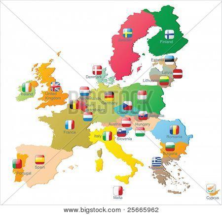 El mapa de la Unión Europea con banderas