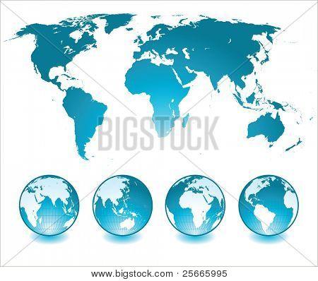 glänzend Globen und Weltkarte