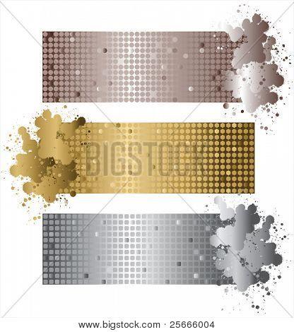 banners brillantes en colores metálicos