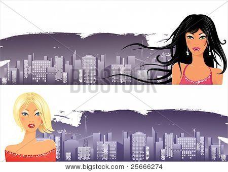 Banner mit Nacht-Stadt und schöne Mädchen