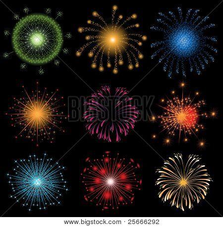 conjunto de coloridos fuegos artificiales