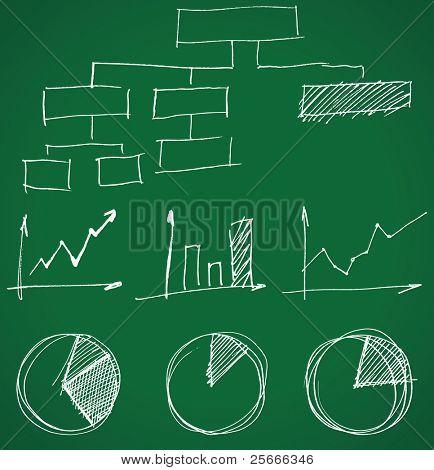 gráficos de negócios desenhado a mão