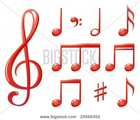red glossy music notes