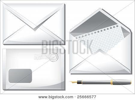 set of white envelopes and pen