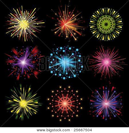 set of 9 colorful highly detailed fireworks