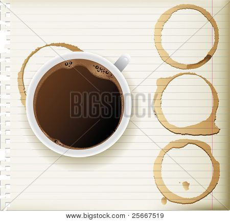 coffee cup and coffee stains