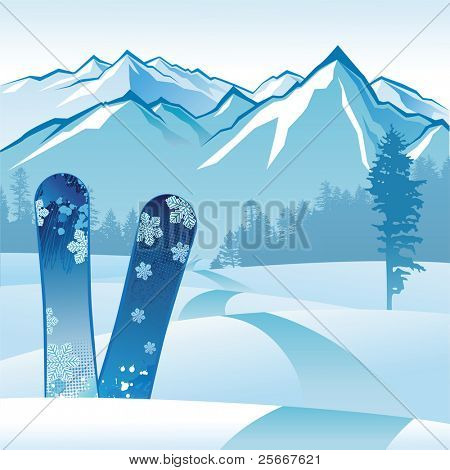 2 snowboards on landscape background