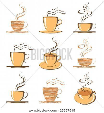 Reihe von Kaffee Tasse icons