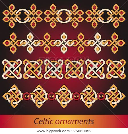 bright celtic ornaments vector set