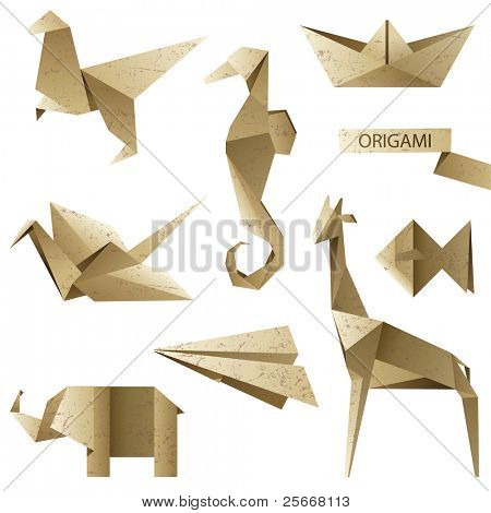 old-fashioned origami set - vector illustration
