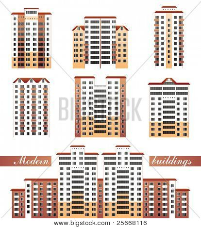 modern buildings set- vector illustration