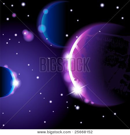Abstract space landscape - vector  eps 10.0