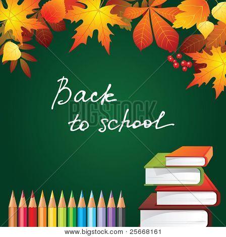 regresar al fondo de la escuela con hojas de otoño