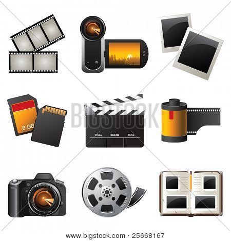 Foto und video Icons Set - Vektor
