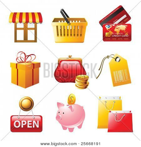 9 bright shopping icons set