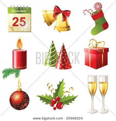 glossy Christmas icons set