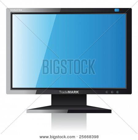 computer monitor over white background