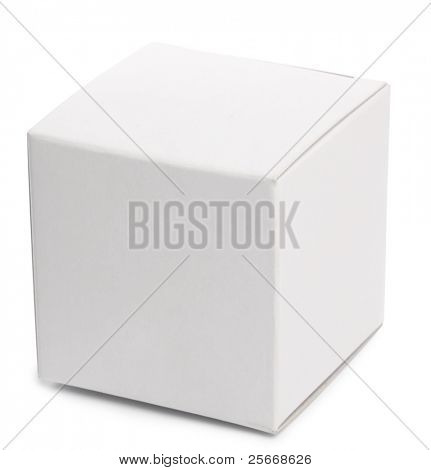 White box over white background.