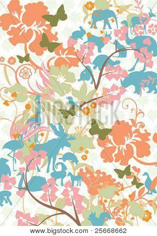 Tapete floral & Tierwelt Elemente