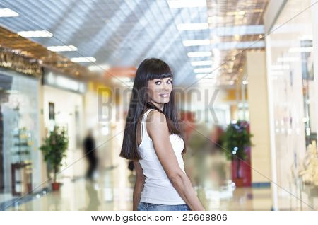 beautiful woman in department store