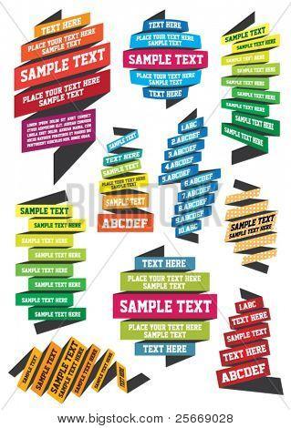 conjunto de fitas coloridas para seu texto