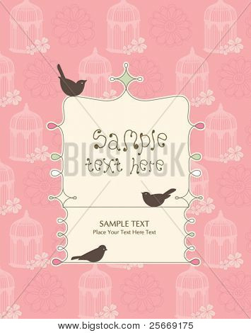 whimsical card design with birds