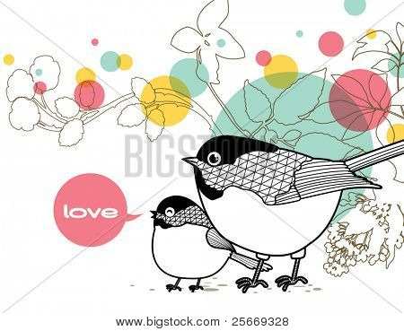love card with lovely bird and floral background