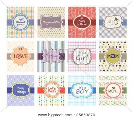 conjunto de diseño de tarjetas de felicitación