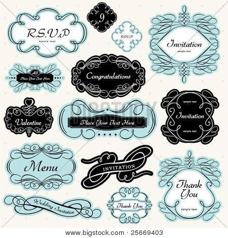 Set of vintage label and ornament frames for invitation card, thank you card, RSVP, menu, greeting card, packaging label& etc.