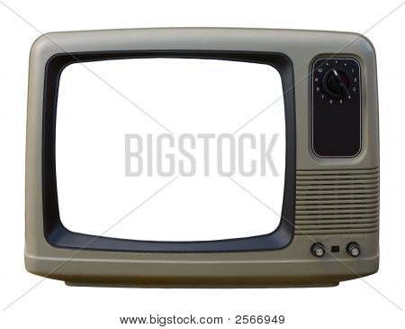 Old Tv Over A White Background