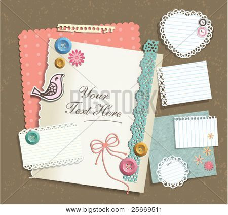 various note papers & scrapbook elements