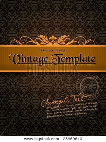 vintage label with seamless ornament background