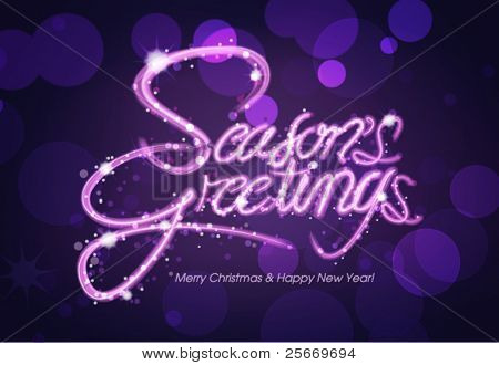 Season's Greeting greeting card, invitation card, typography design, light painting