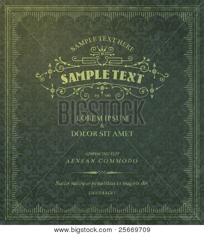 vintage background template for invitation, packaging, label or cover design
