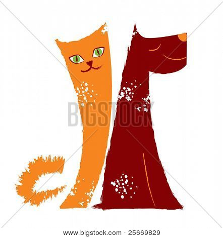 orange cat and brown dog on a white background