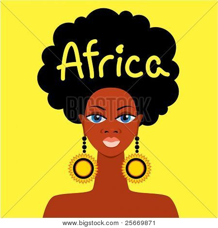 African mother face on a yellow background