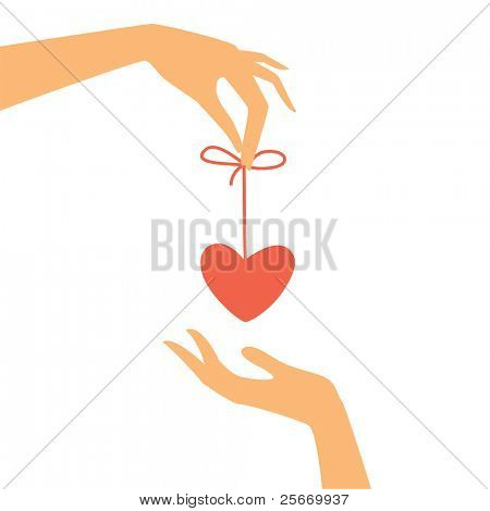 congratulations on the day of lovers - the heart of a gift from hand to hand on a white background
