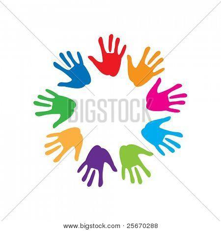 o sinal de paz e amizade - palm colorido