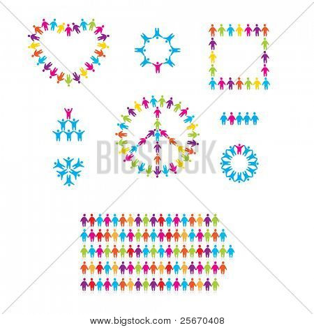 set of icons - people, team, peace, love, friendship