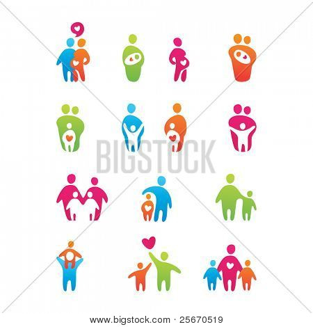 Satz von Symbolen Kinder und Eltern