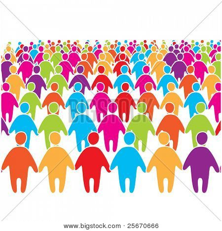 Big crowd of many colors social people group.
