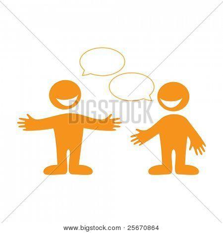 Conversación entre dos personas. Introduzca el texto en las burbujas de discurso. Vector.